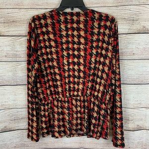 Anne Klein Tops - Anne Klein Red, Tan and Black Patterned Blouse